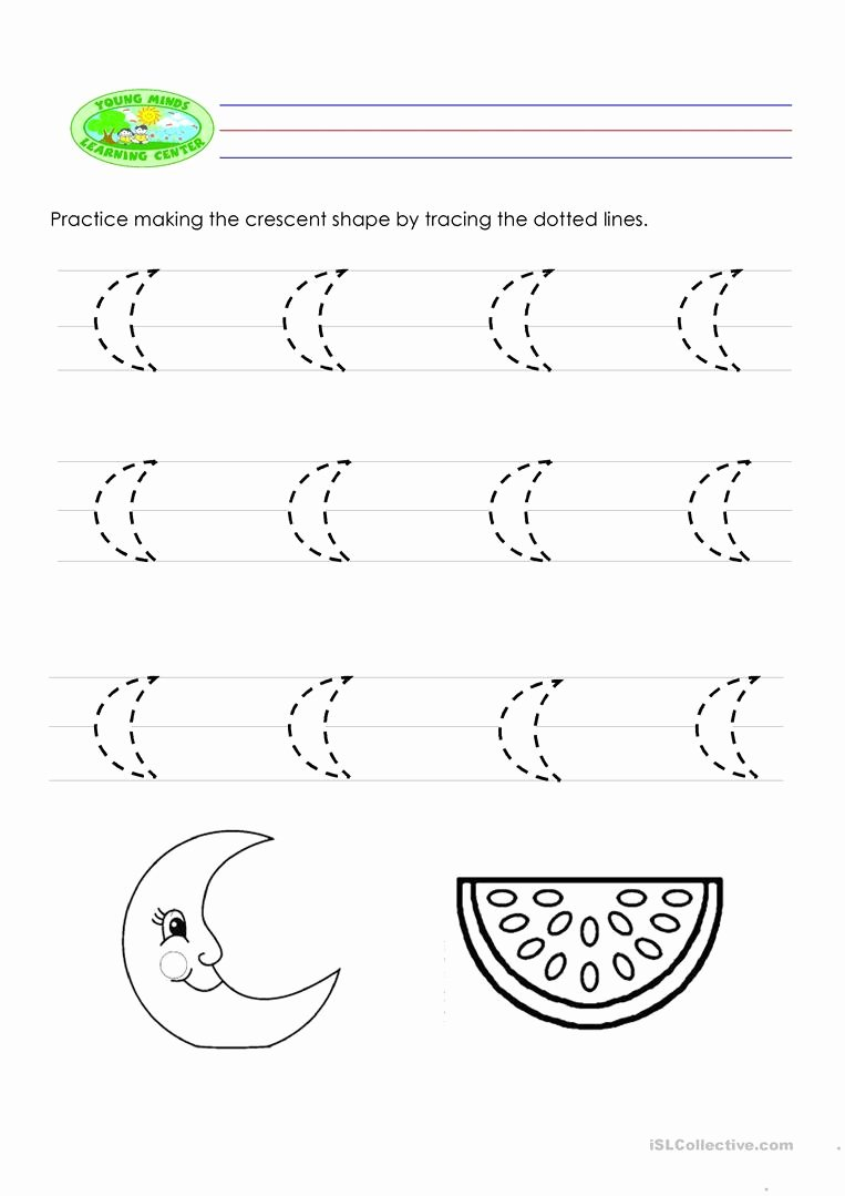 Crescent Shape Worksheets for Preschoolers Inspirational Tracing English Esl Worksheets for Distance Learning and