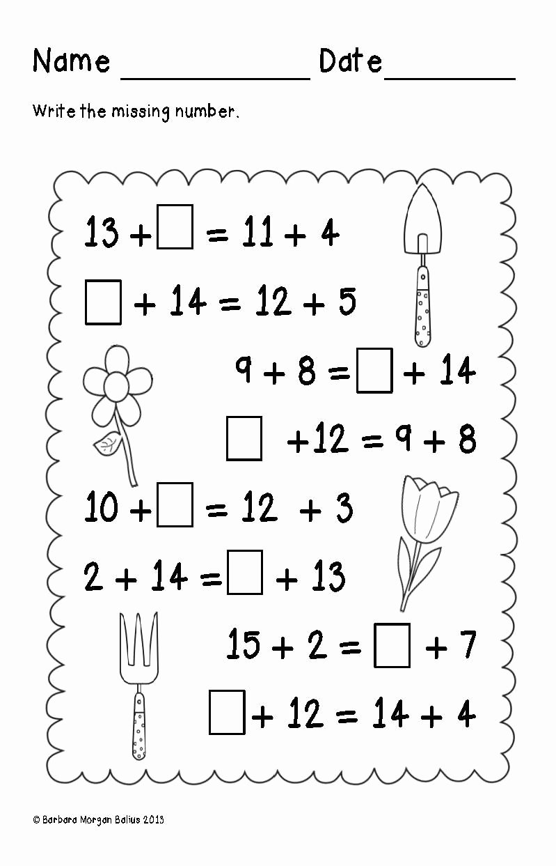 Critical Thinking Worksheets for Preschoolers Best Of First Grade Math Spring Balancing Equations Addition Oa