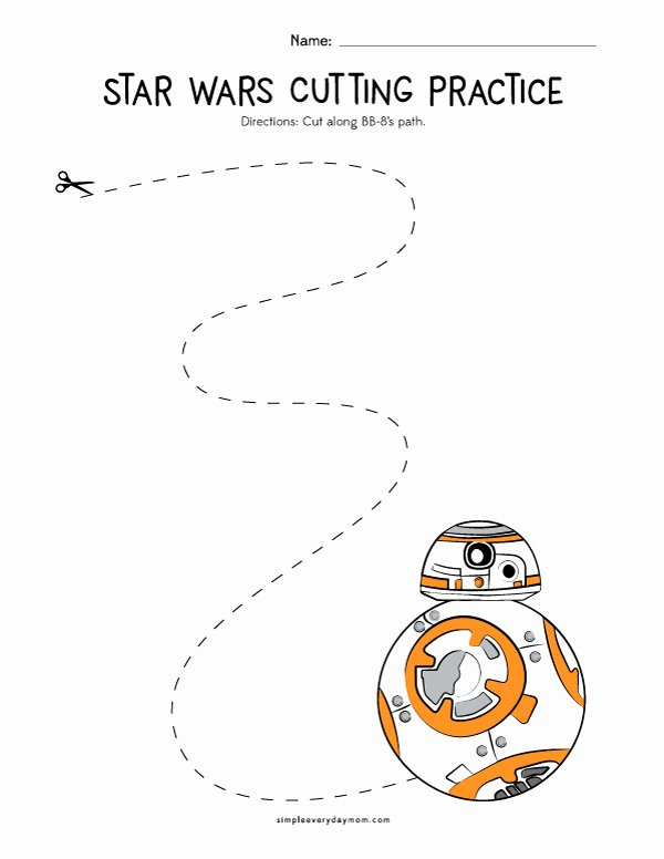 Cutting Practice Worksheets for Preschoolers Fresh Star Wars Cutting Practice Worksheets for Early Learners