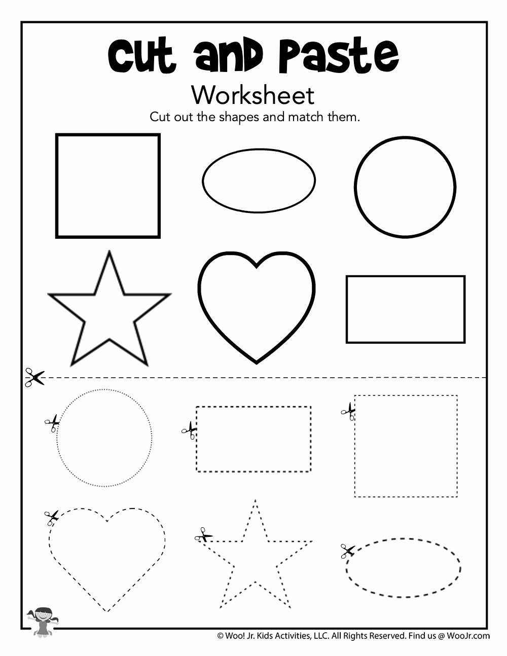 Cutting Shapes Worksheets for Preschoolers Kids Cut and Paste Matching Shapes Worksheet