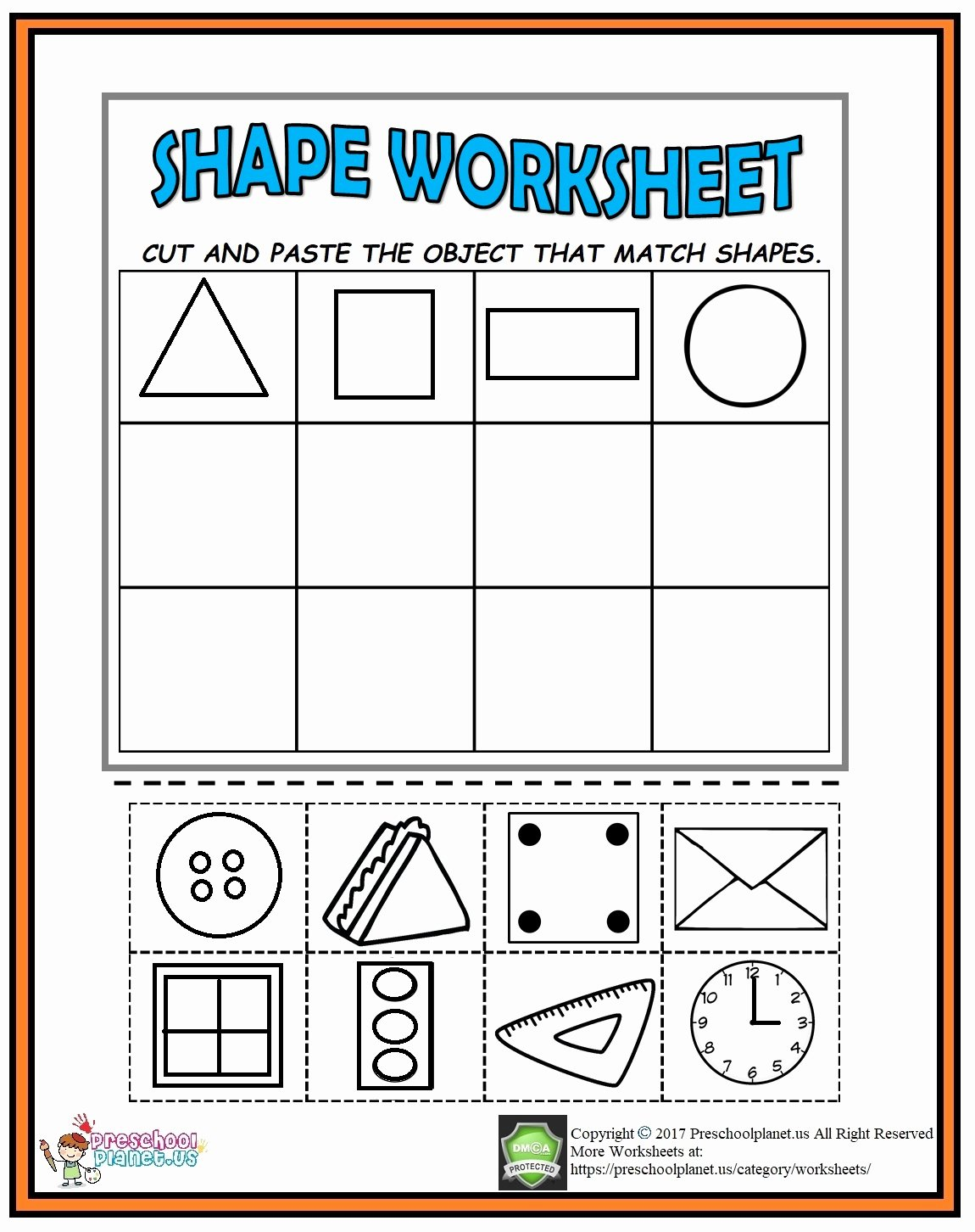 Cutting Shapes Worksheets for Preschoolers top Cut and Paste Shape Worksheet Preschoolplanet Cutting Shapes