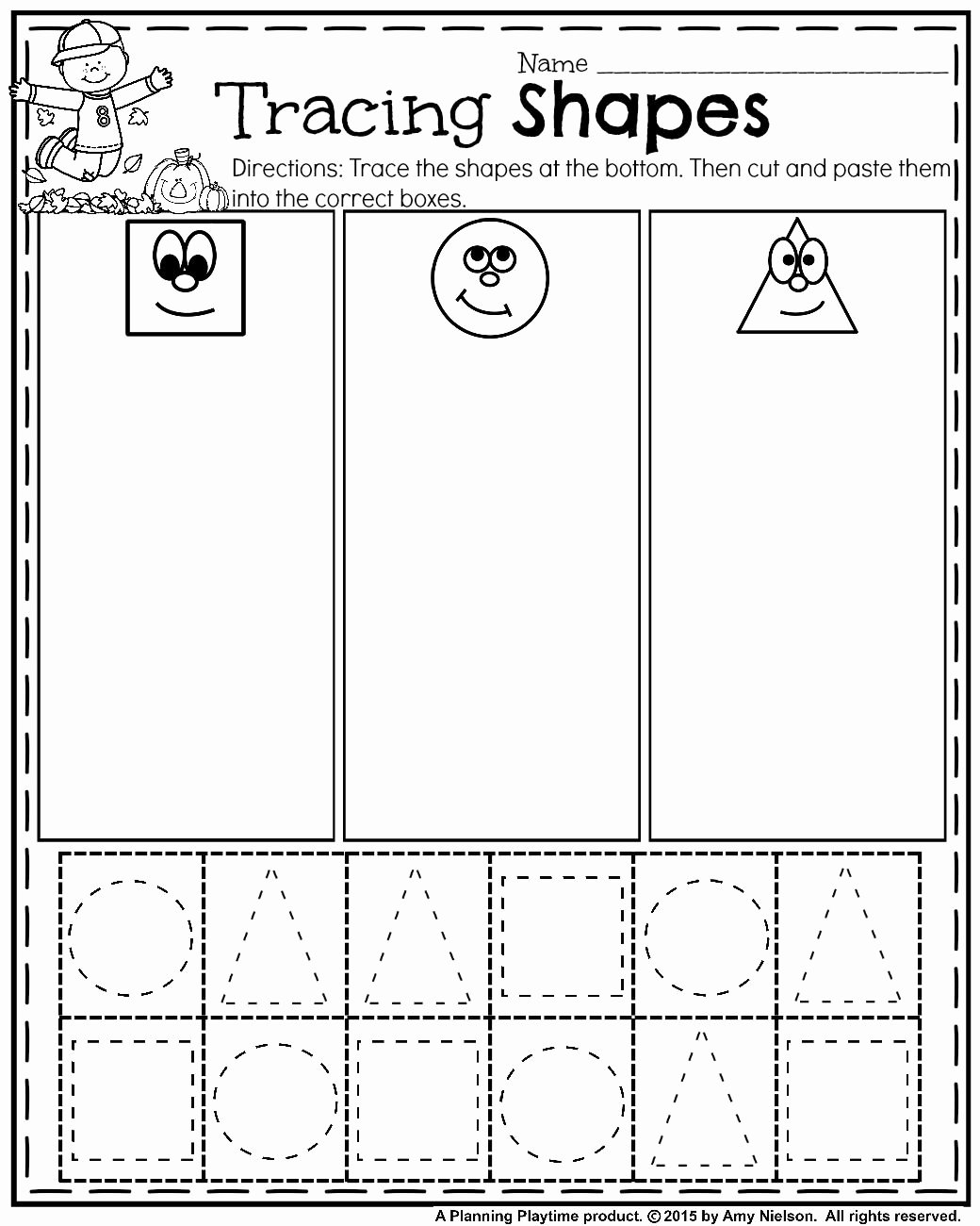 Cutting Shapes Worksheets for Preschoolers top October Preschool Worksheets Planning Playtime
