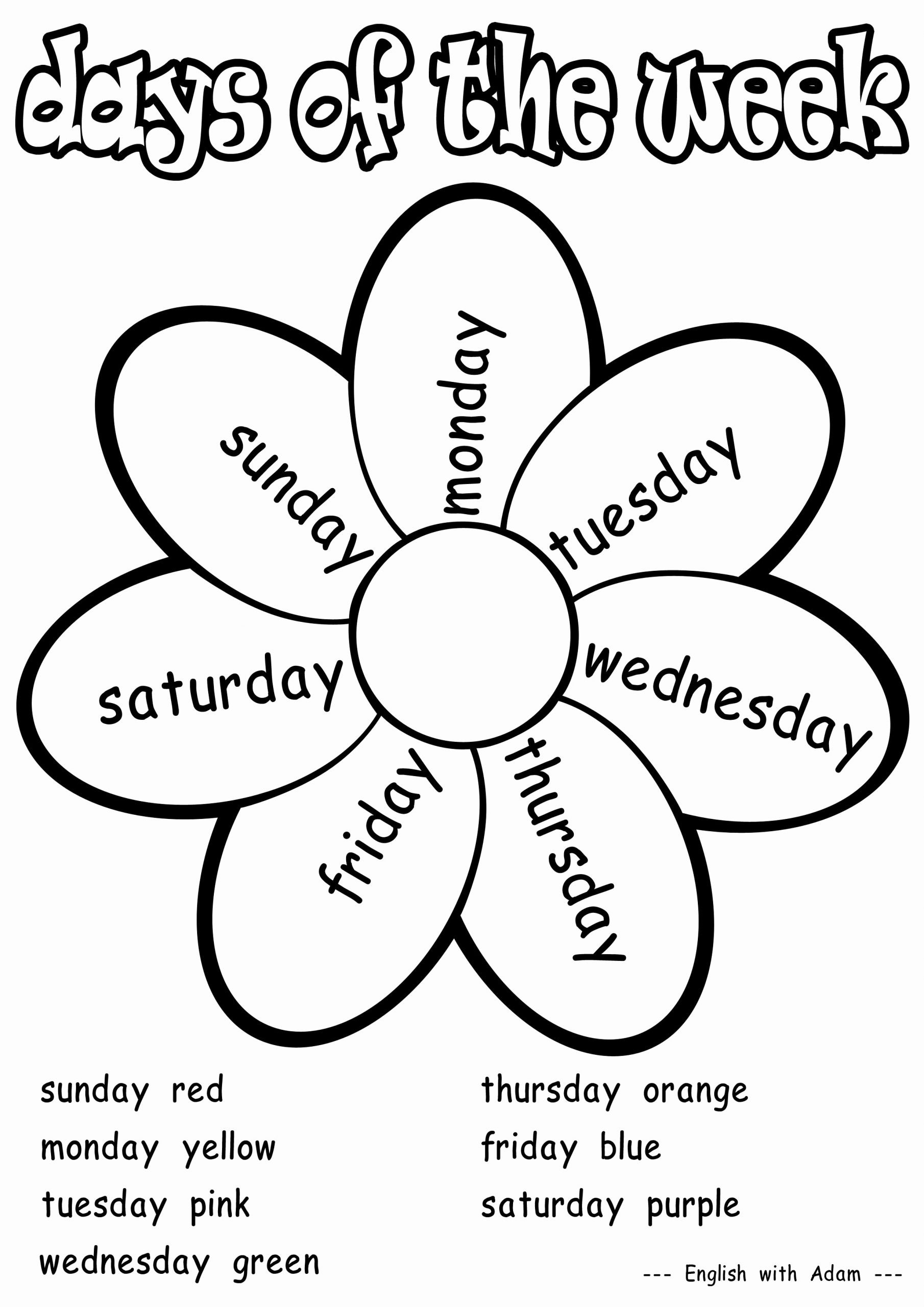 Days Of the Week Worksheets for Preschoolers Fresh Coloring Activities for Grade 1 New Lily Chuang Lilychuang