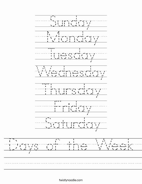 Days Of the Week Worksheets for Preschoolers Kids Days Of the Week Worksheet