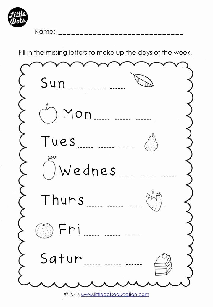 Days Of the Week Worksheets for Preschoolers Kids the Very Hungry Caterpillar theme Free Days Of the Week
