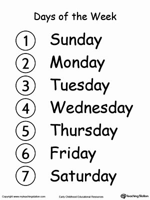 Days Of the Week Worksheets for Preschoolers New Kindergarten Time Printable Worksheets