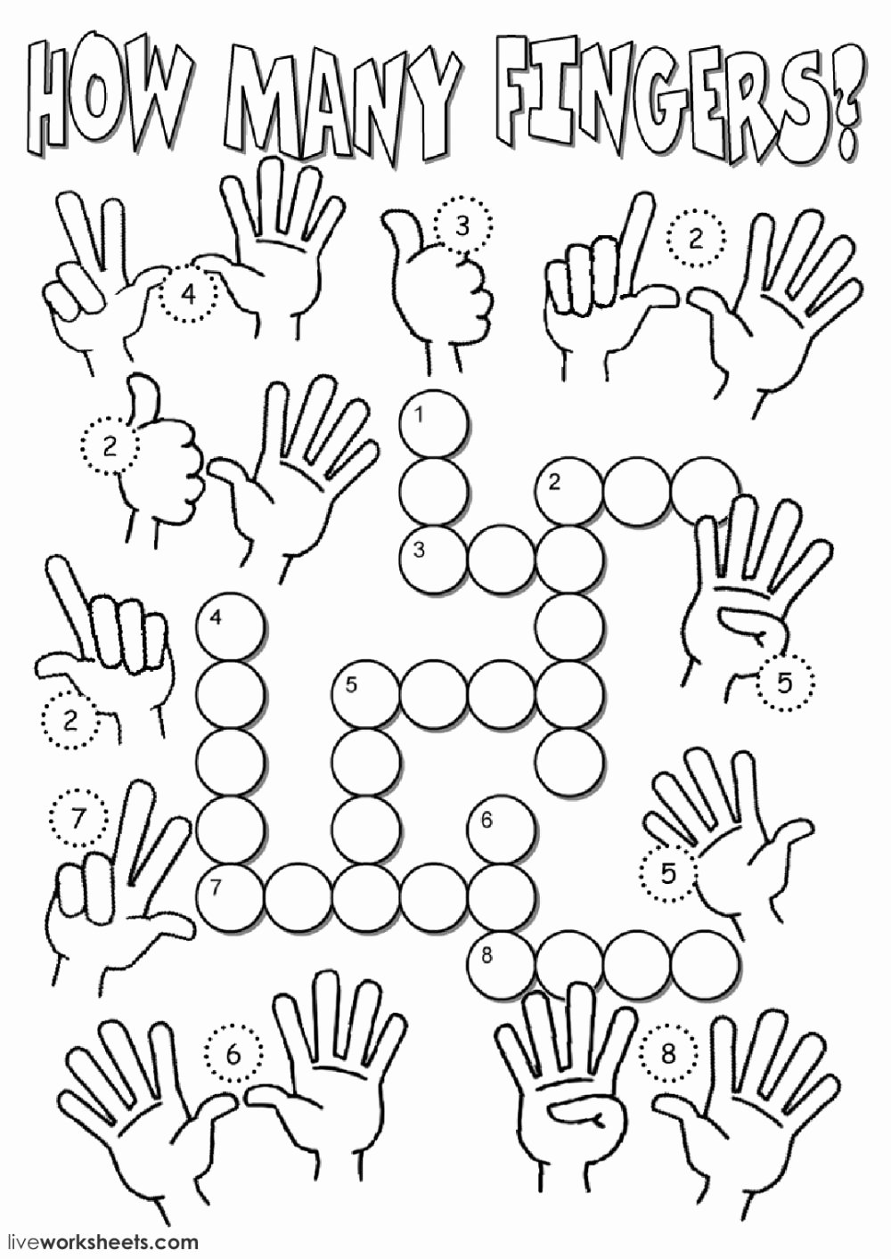 Dhivehi Worksheets for Preschoolers Printable Many Fingers Interactive Worksheet Dhivehi Worksheets for