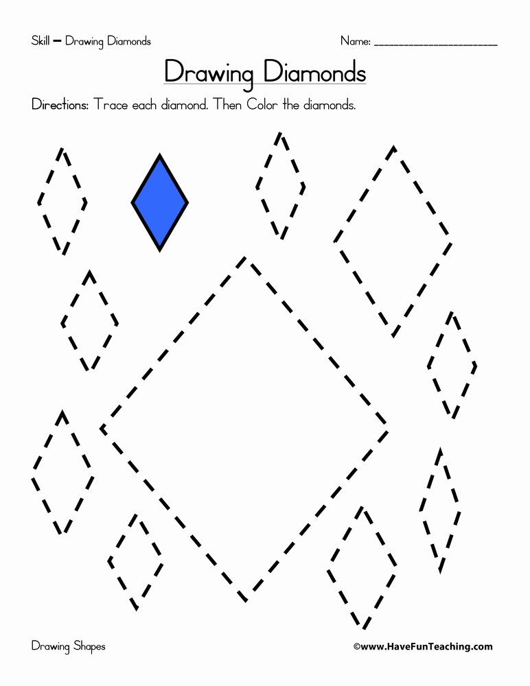 Diamond Worksheets for Preschoolers Best Of Drawing Diamonds Worksheet