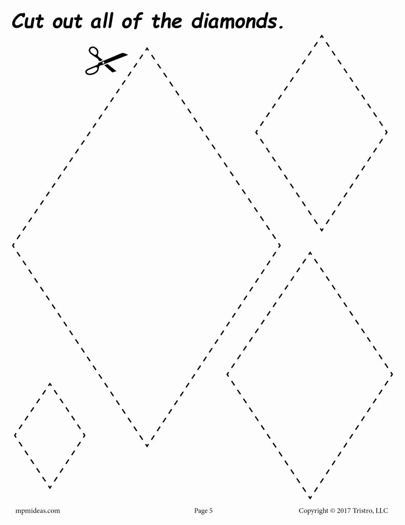 Diamond Worksheets for Preschoolers Free Diamonds Cutting Worksheet