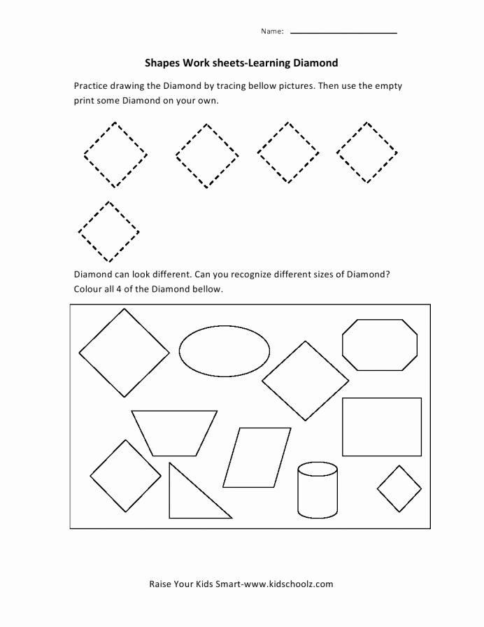 Diamond Worksheets for Preschoolers Ideas Diamond Worksheet Worksheets Problem Preschool Shape Tracing