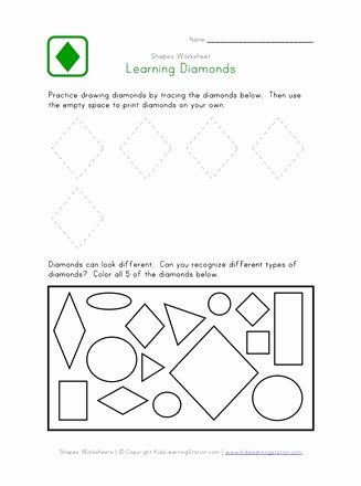 Diamond Worksheets for Preschoolers Inspirational Diamond Worksheet