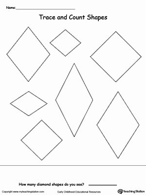 Diamond Worksheets for Preschoolers Inspirational Trace and Count Diamond Shapes