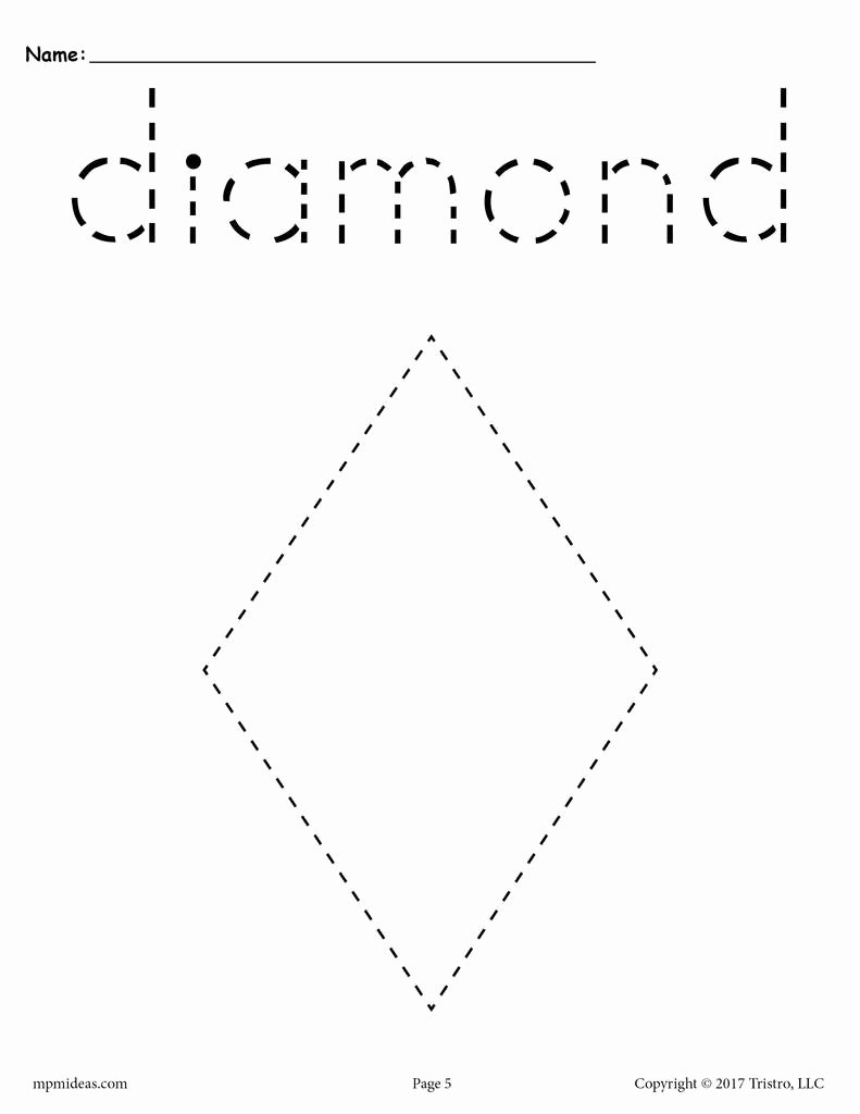 Diamond Worksheets for Preschoolers Kids Diamond Tracing Worksheet
