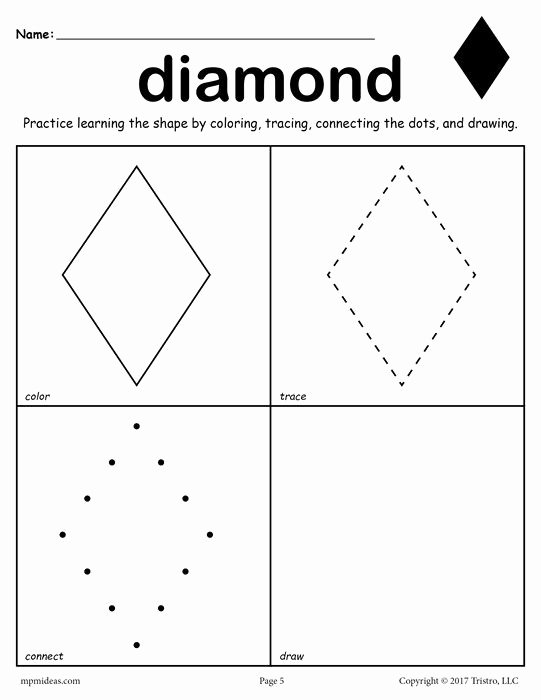 Diamond Worksheets for Preschoolers Printable 12 Shapes Worksheets Color Trace Connect & Draw