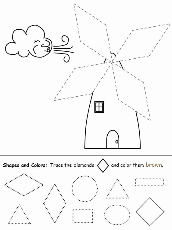 Diamond Worksheets for Preschoolers Printable Shapes Recognition Practice Worksheet Diamond