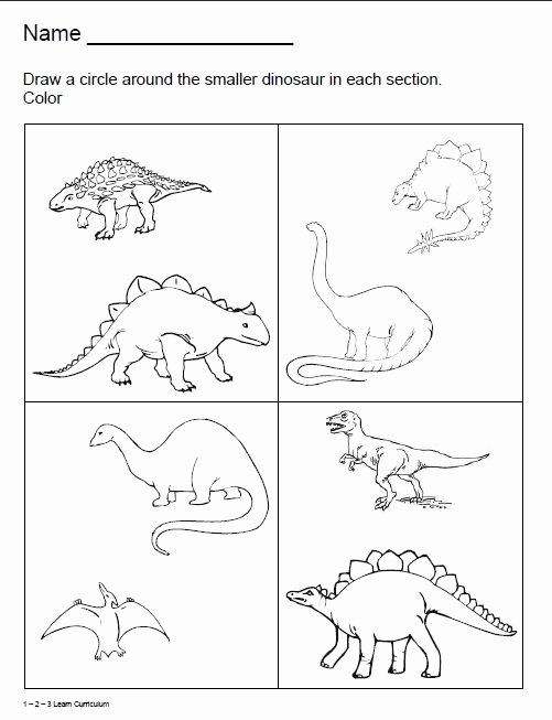 Dinosaur Worksheets for Preschoolers New 1 2 3 Learn Curriculum Dinosaur Worksheets