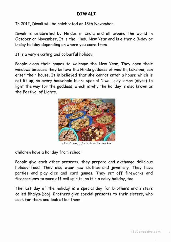 Diwali Worksheets for Preschoolers Ideas Diwali English Esl Worksheets for Distance Learning and