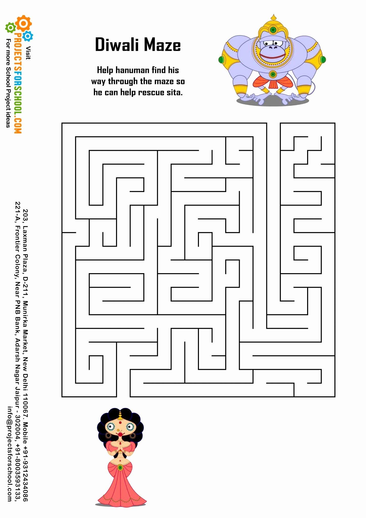 Diwali Worksheets for Preschoolers Lovely Kids Science Projects Diwali Maze Free