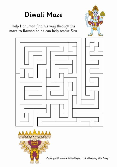 Diwali Worksheets for Preschoolers New Diwali Maze with Images