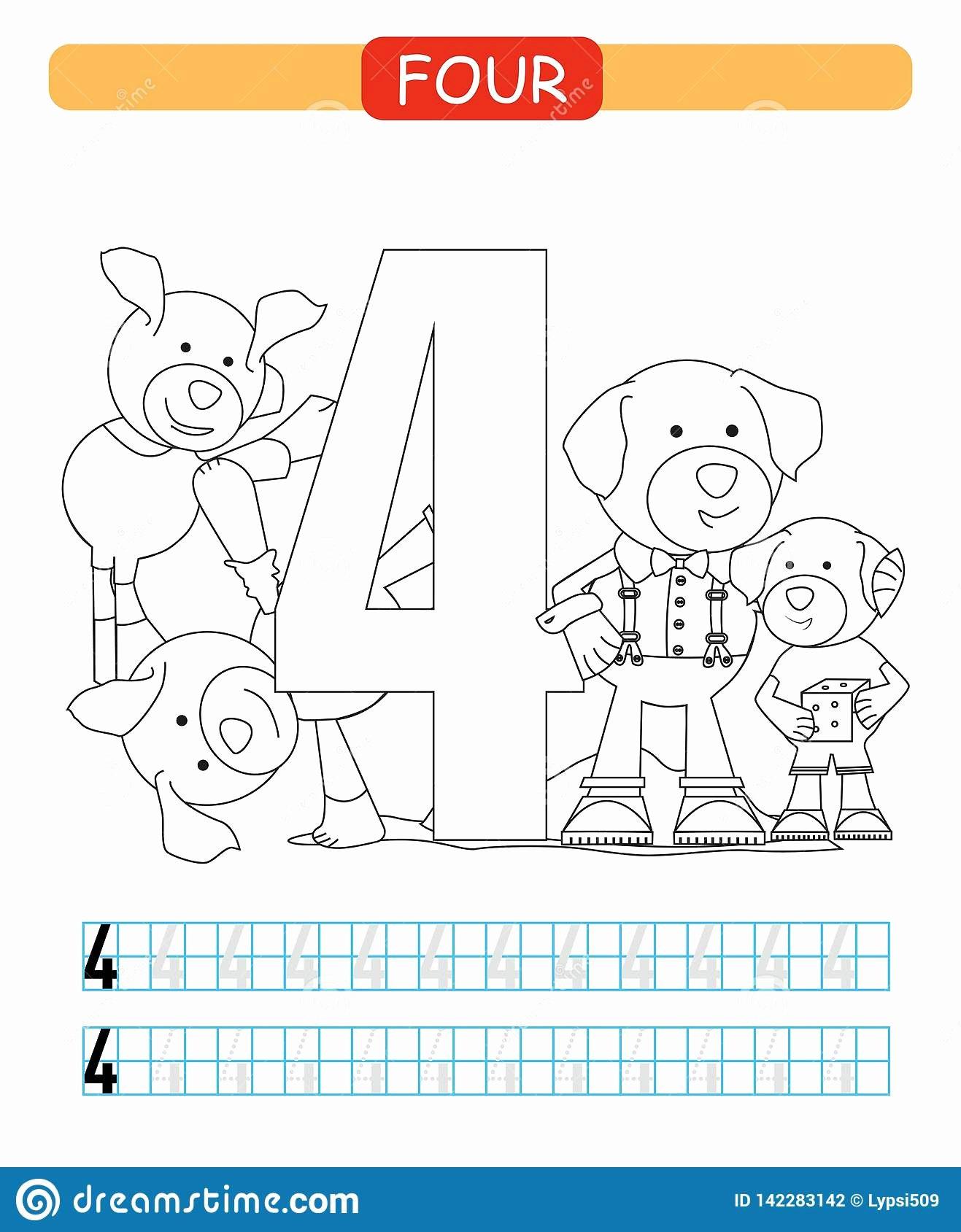 Dog Worksheets for Preschoolers Lovely Four Learning Number 4 Coloring Printable Worksheet for