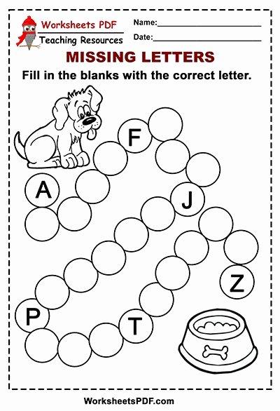 Dog Worksheets for Preschoolers Lovely Free Printable Dog Alphabet – Missing Letters Worksheets Pdf
