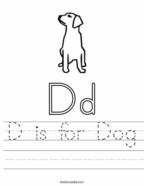Dog Worksheets for Preschoolers Printable D is for Dog Worksheet