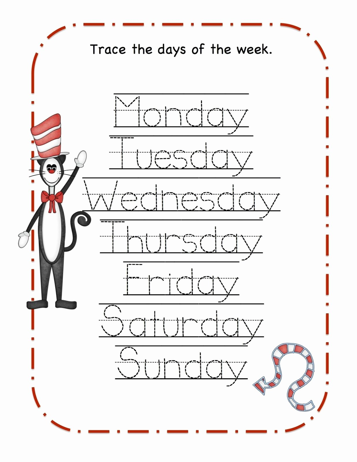 Dr Seuss Worksheets for Preschoolers Free Daysofthweek Tracing Drseuss