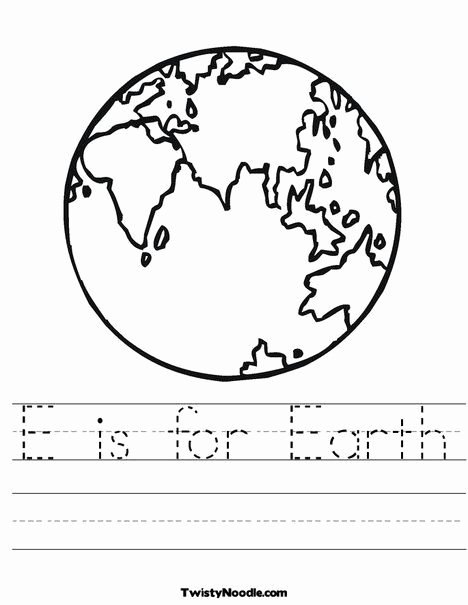 Earth Worksheets for Preschoolers Kids E is for Earth Worksheet