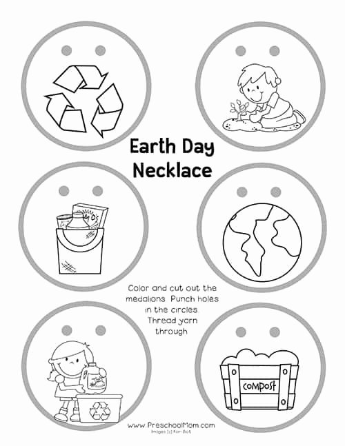 Earth Worksheets for Preschoolers Printable Earth Preschool Printables Mom Worksheets Earthdaynecklace