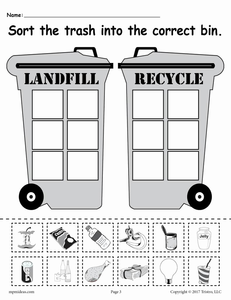 Earth Worksheets for Preschoolers Printable sorting Trash Earth Day Recycling Worksheets 4 Printable Versions