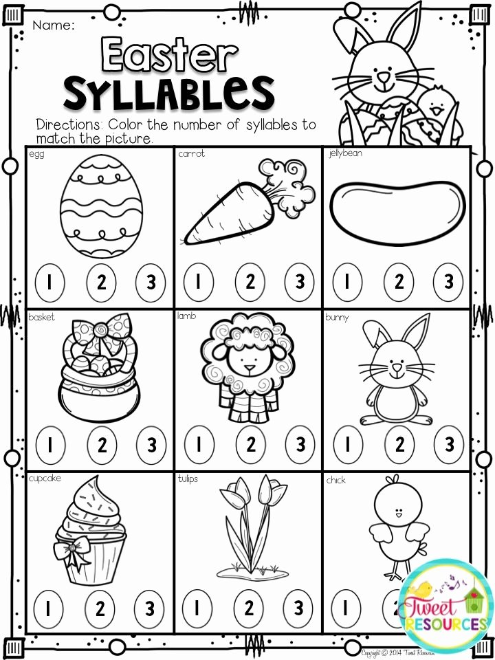 Easter themed Worksheets for Preschoolers Free Easter Math and Literacy No Prep Printables Pack 37 Pages