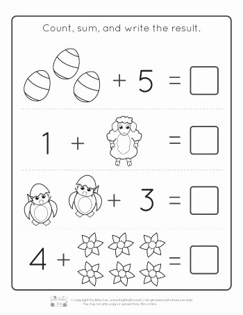 Easter themed Worksheets for Preschoolers Ideas Easter Kindergarten Addition Worksheets Itsybitsyfun