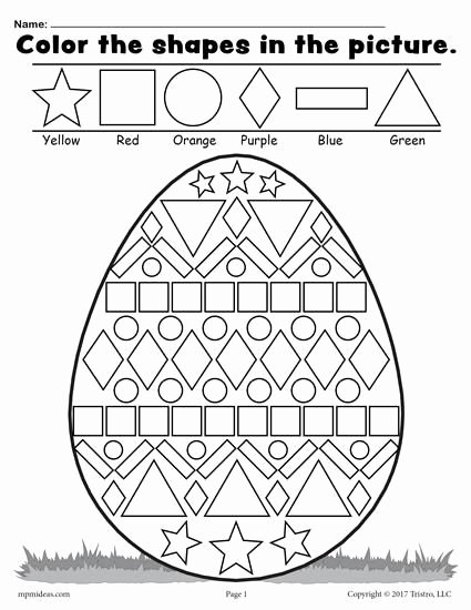 Easter themed Worksheets for Preschoolers Inspirational Easter Egg Shapes Worksheet & Coloring Page