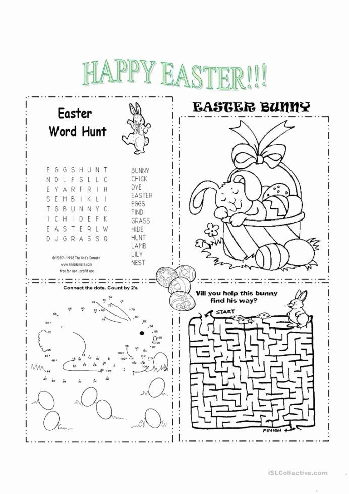Easter themed Worksheets for Preschoolers Printable Free Easter Worksheets for Kindergarten Easter Esl