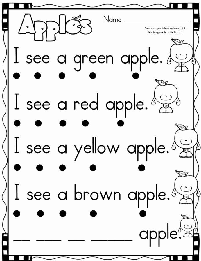 Easy Reading Worksheets for Preschoolers Lovely September themed Simple Predictable Sentences for Beginning