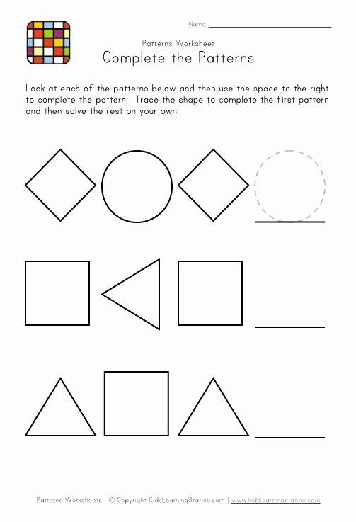 Easy Worksheets for Preschoolers New Kindergarten Pattern Worksheets