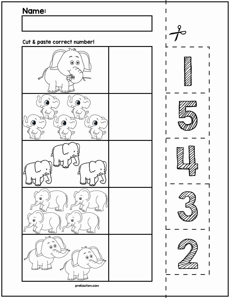 Elephant Worksheets for Preschoolers Kids $1