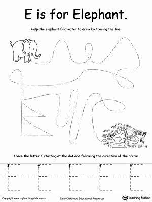 Elephant Worksheets for Preschoolers Lovely the Letter E is for Elephant