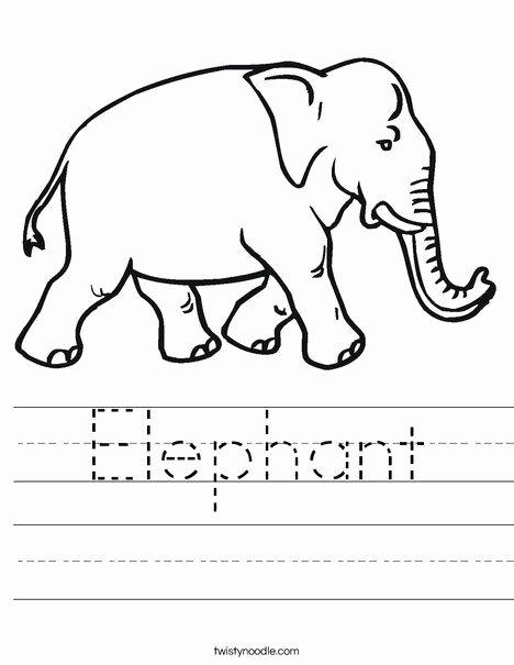 Elephant Worksheets for Preschoolers Printable Elephant Worksheet