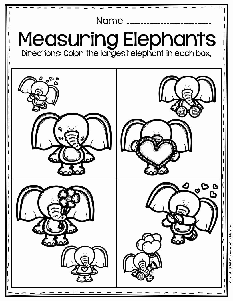 Elephant Worksheets for Preschoolers top Free Printable Valentine S Day Elephants Preschool