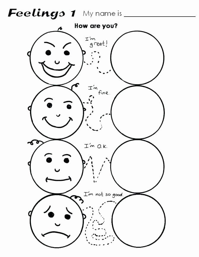 Emotions Worksheets for Preschoolers New Feelings Worksheets – Keepyourheadup