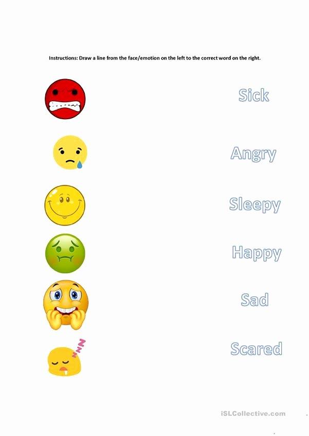 Emotions Worksheets for Preschoolers Printable Matching Emotions English Esl Worksheets for Distance
