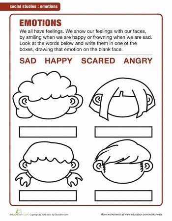 Emotions Worksheets for Preschoolers top Image Result for Emotions Worksheets for Kindergarten Pdf