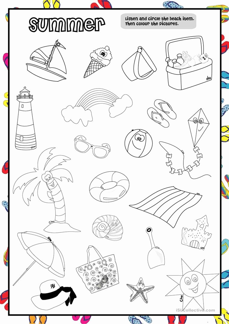 Esl Worksheets for Preschoolers Printable Summer Worksheet Pre School English Esl Worksheets for