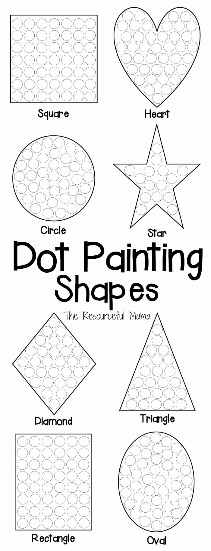 Eye Hand Coordination Worksheets for Preschoolers Free Shapes Dot Painting Free Printable