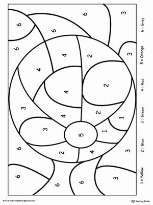 Eye Hand Coordination Worksheets for Preschoolers Printable Color by Number Beach Ball In 2020
