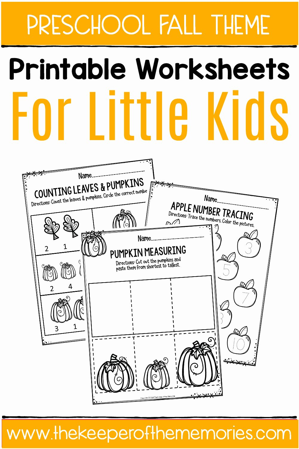 Fall Printable Worksheets for Preschoolers Kids Fall Printable Preschool Worksheets the Keeper Of the Memories