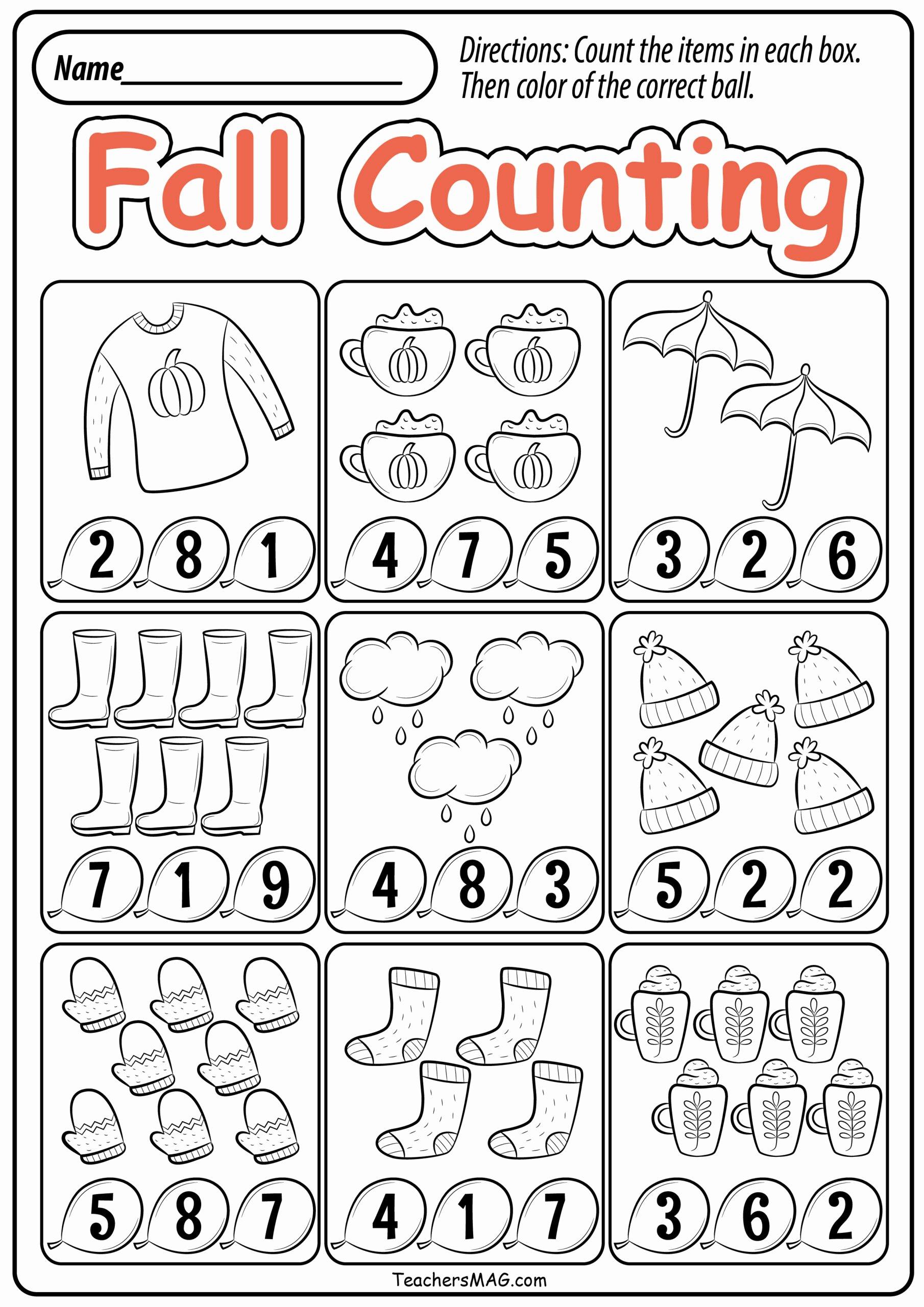 Fall Worksheets for Preschoolers Free Inspirational Preschool Fall Math Worksheets Teachersmag Free Printable