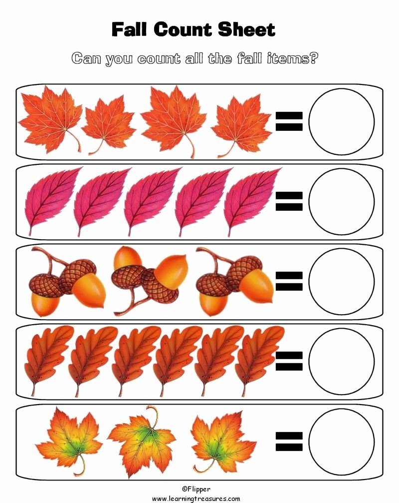 Fall Worksheets for Preschoolers Lovely Fall Math Worksheet for Kids