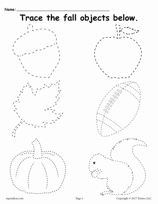 Fall Worksheets for Preschoolers top Printable Fall Tracing Worksheet